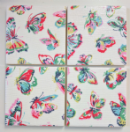 4 Ceramic Coasters in Cath Kidston Butterfly